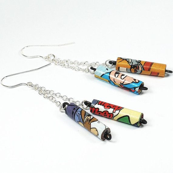 Paper Bead Jewelry Looney Tunes Comic Book Bead & Silver by Tanith, $20.00