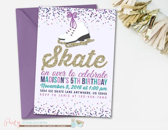 Ice Skating Invitation Ice Skating Birthday Invitation Winter