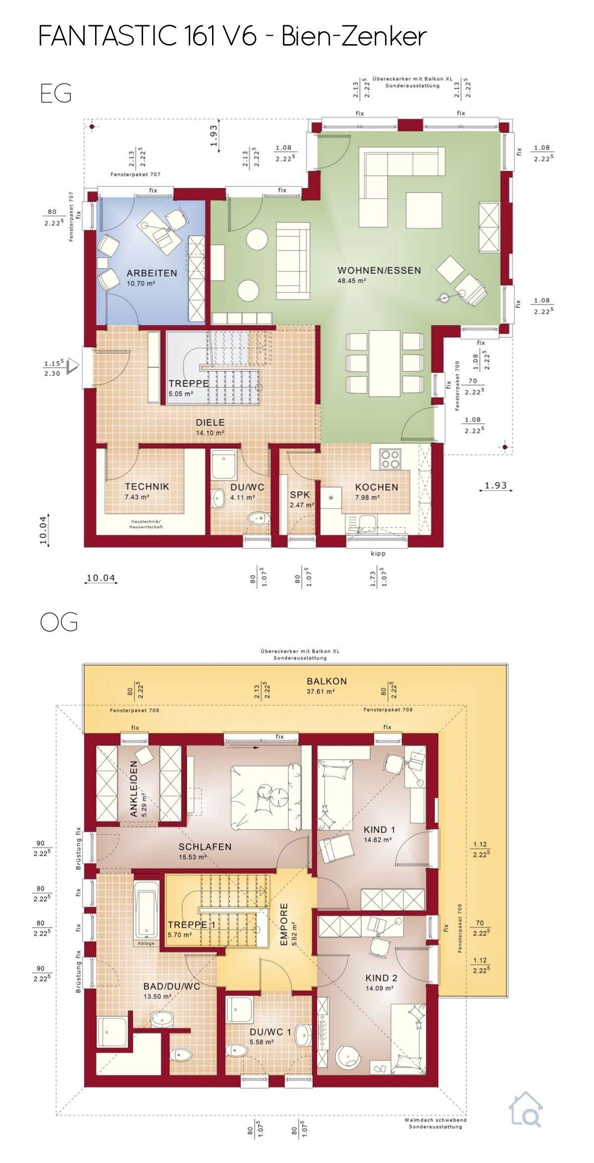Grundriss Stadtvilla mit Erker & XL Balkon 5 Zimmer, 160