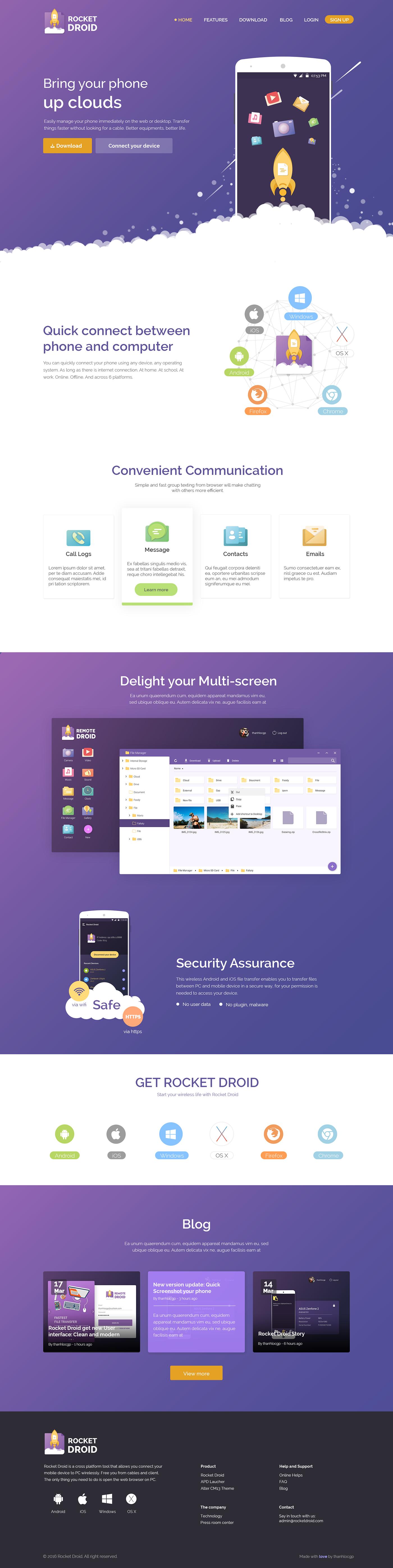 RocketDroid - Landing page Website on Behance | UI/UX Design ...