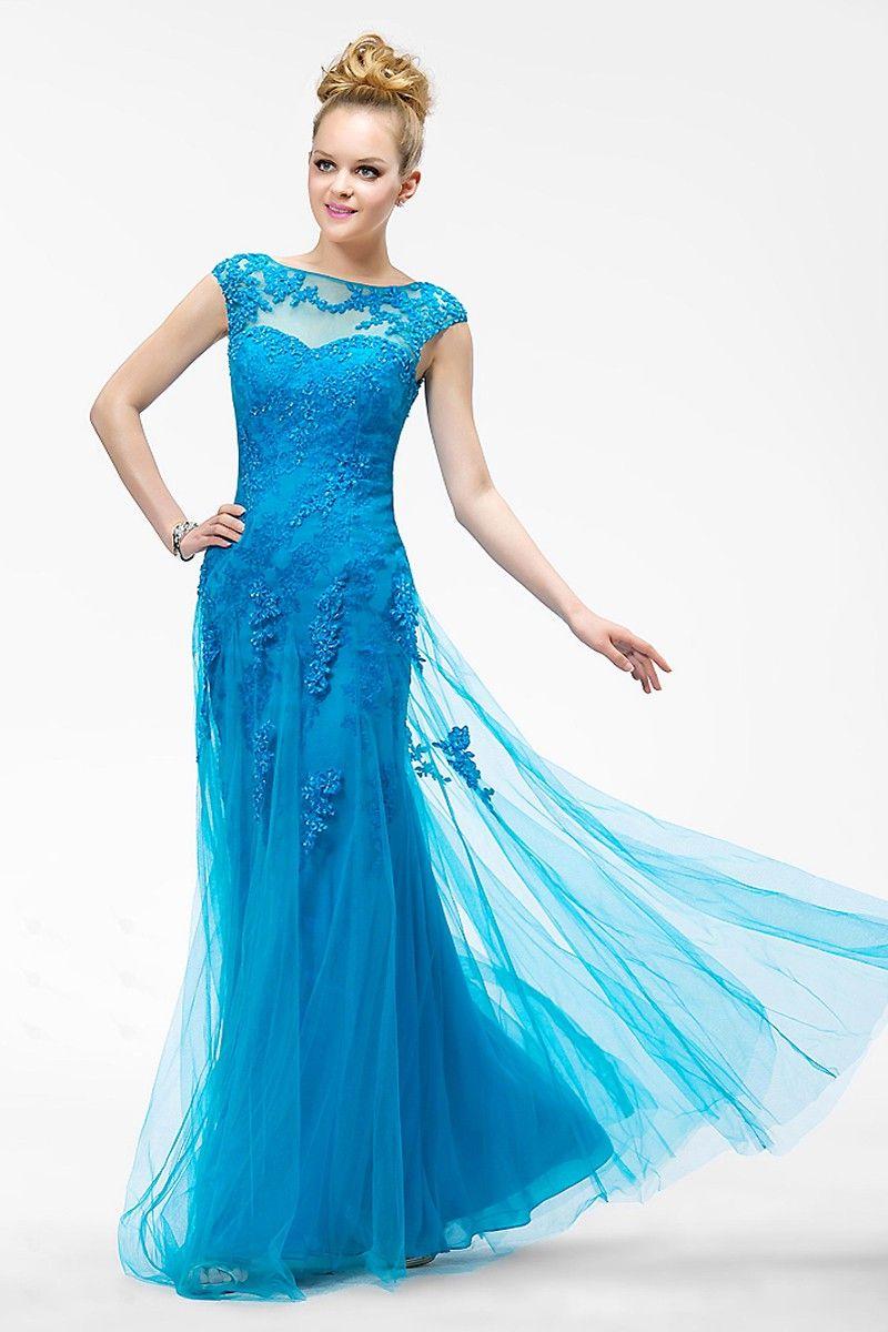 Vogue Bateau Blue Prom Dresses with Applique Cap Sleeves Evening ...
