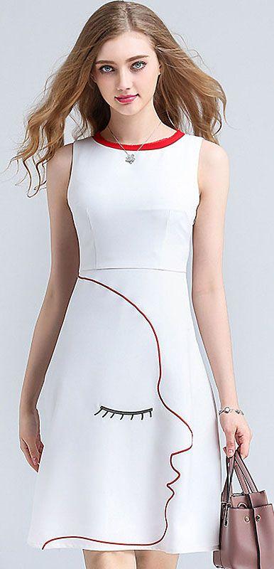 dca6bdcae5 Chic Mask Print Sleeveless A-line Dress Skater Dress