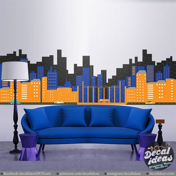 Superhero Wall Decal Gotham City Wall Decal By StunningWalls - Superhero wall decals for kids roomssuperhero wall decal etsy