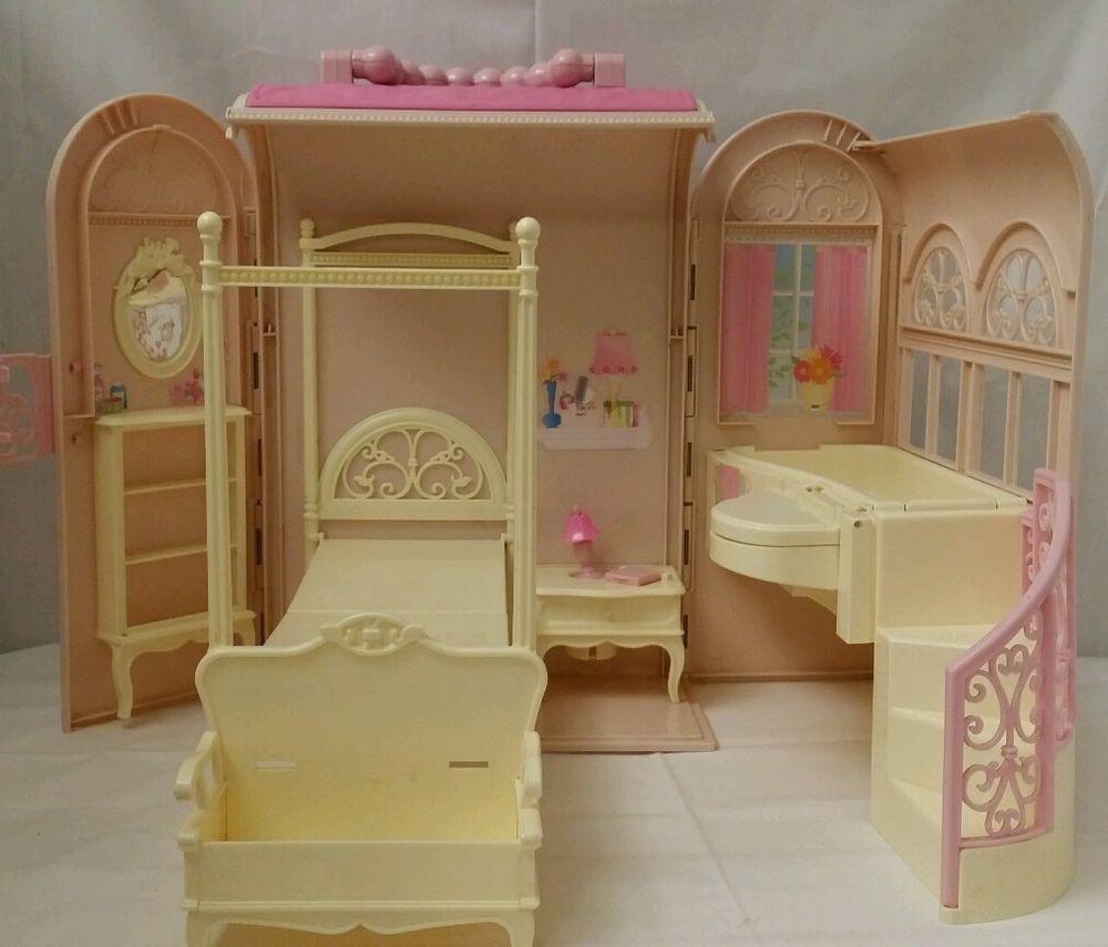1998 Mattel Pink Barbie Bedroom Fold u0026