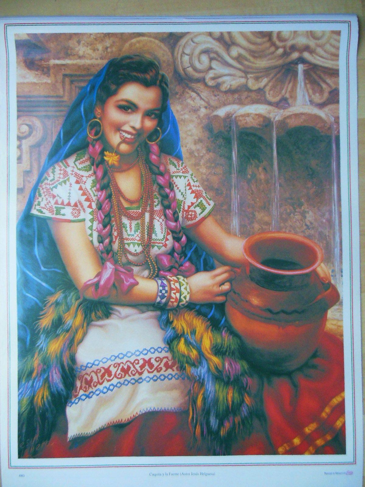 Vintage Mexican Calendar Art : Traditional mexican calendar art jesus helguera beautiful