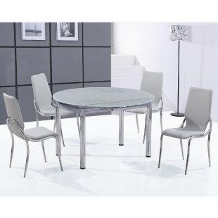 Ensemble Table Ronde En Verre Extensible Et Ses 4 Chaises Grises Nubes Table Ronde En Verre Chaise Grise Table