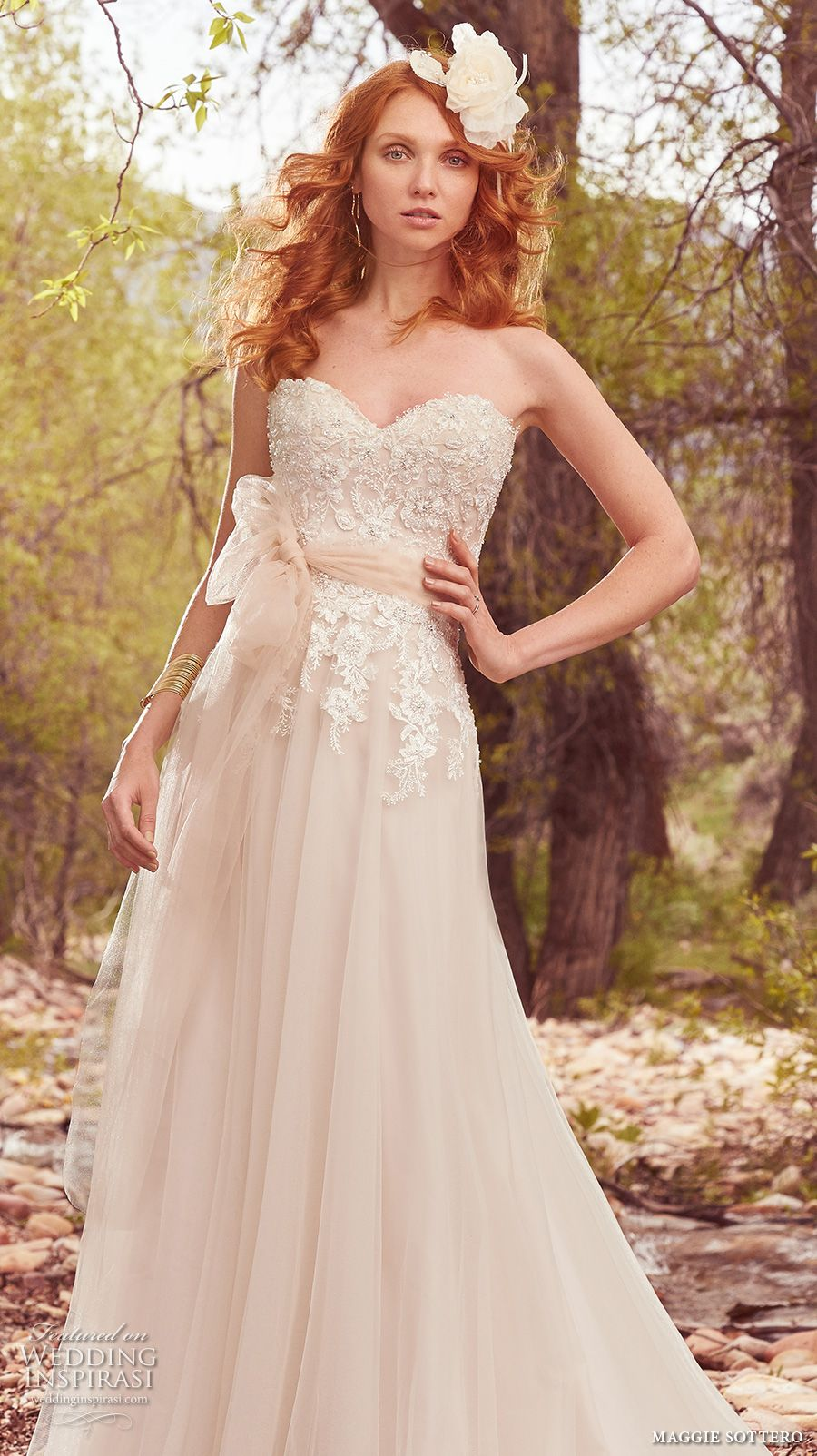 Maggie Sottero Spring 2017 Bridal Strapless Sweetheart Neckline Heavily Embellished Bodice Romantic Modified A Line Wedding Dress Chapel Train Harmony Mv: Maggie Sottero Harmony Wedding Dress At Reisefeber.org