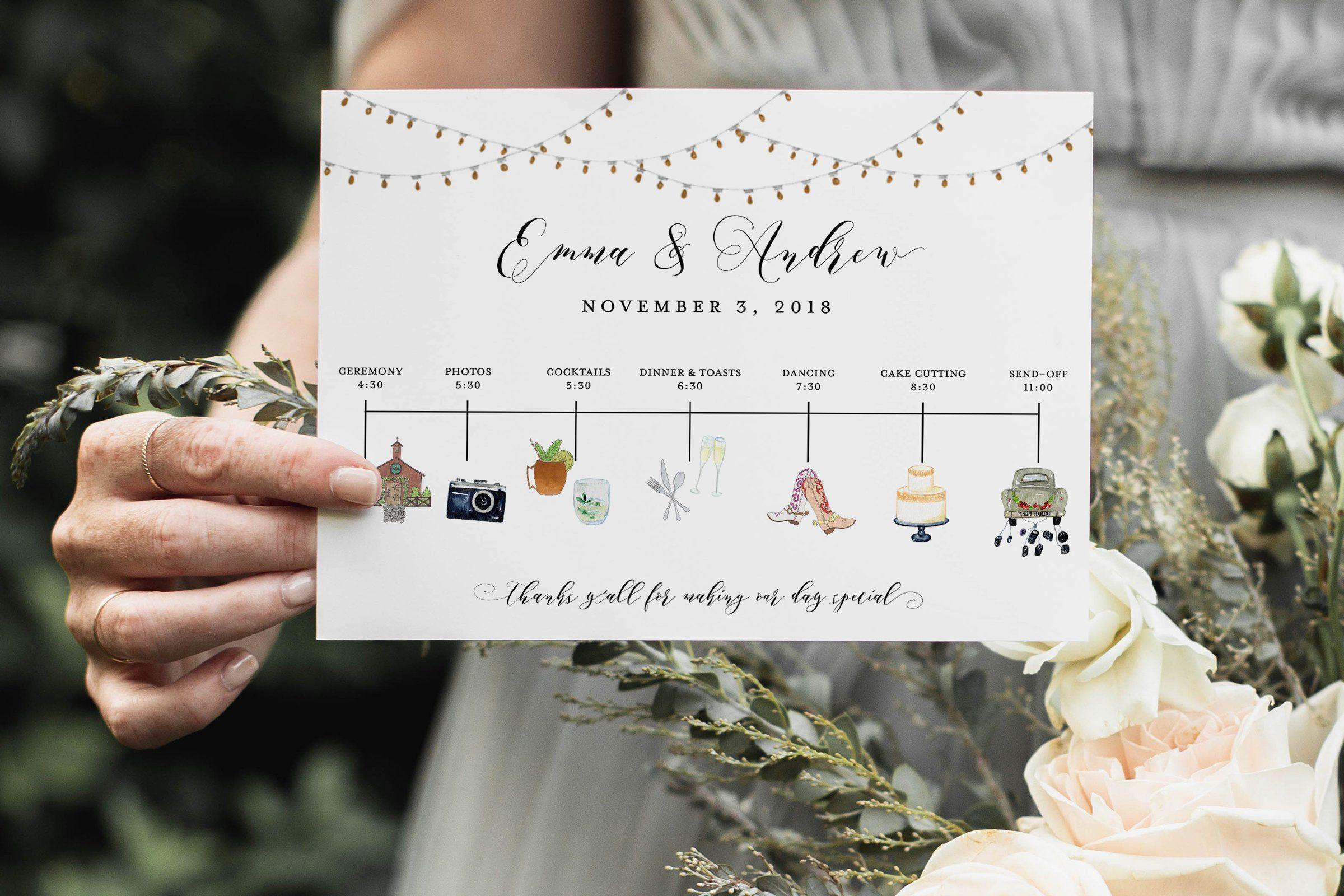 Wedding Timeline Printable Editable Timeline Rustic