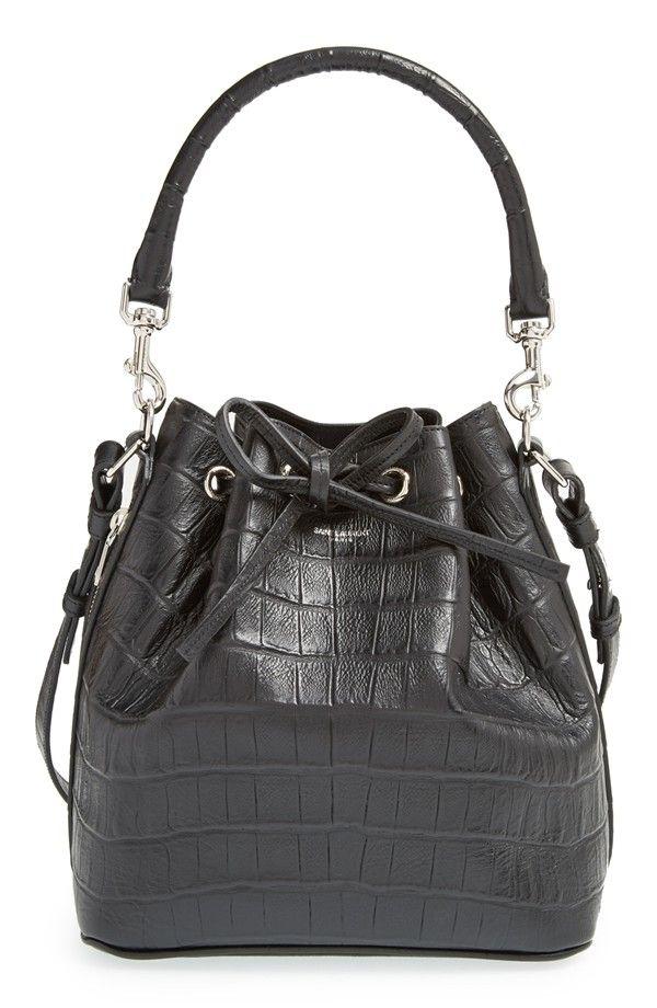 'Emmanuelle' Croc Embossed Leather Bucket Bag