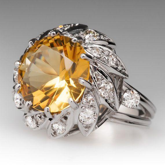 Citrine Cocktail Ring Vintage 7 Carat w/ Diamonds Floral by EraGem
