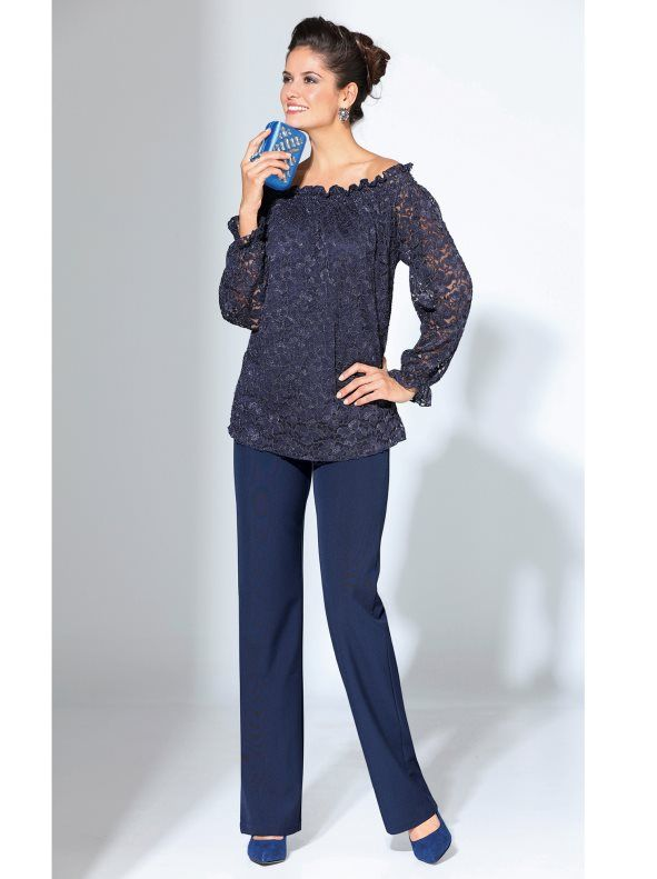 5b04816c70 Pantalón mujer de vestir de tiro alto corte recto en 2019