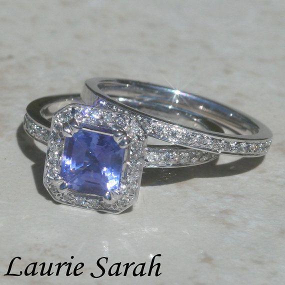Wedding Ring Set Asscher Cut Tanzanite and Diamond Wedding Set