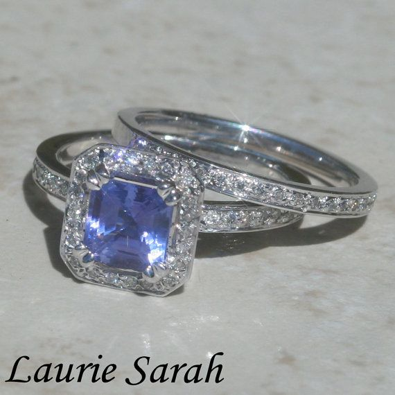 Asscher Cut Tanzanite and Diamond Wedding by LaurieSarahDesigns