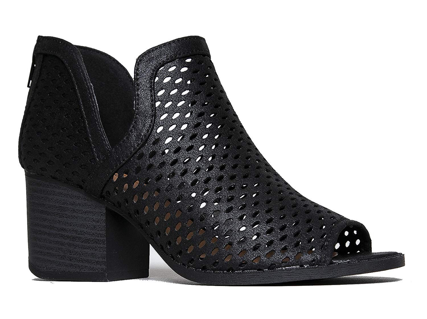 J. Adams Perforated Cut Leder Out Heeled Bootie Distressed Leder Cut Pull ... 20882f