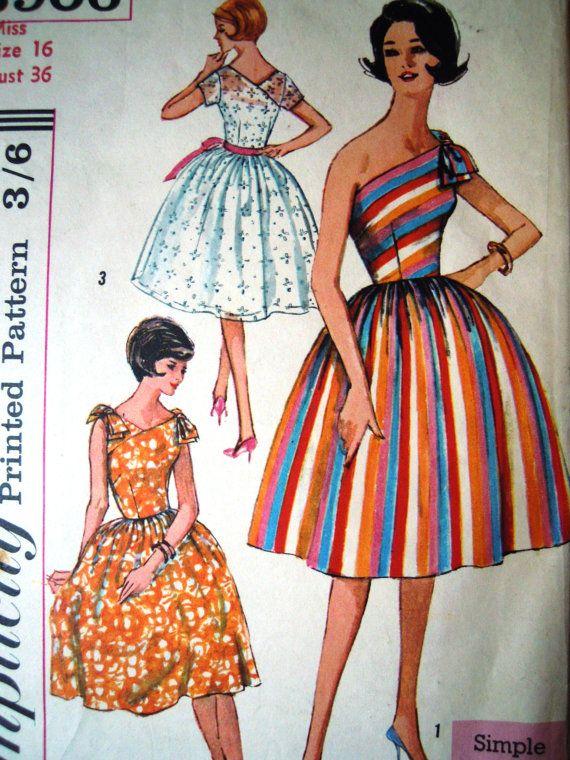 Vintage 1960s Simplicity 3906 One Shoulder Dress by FoxVintageUk