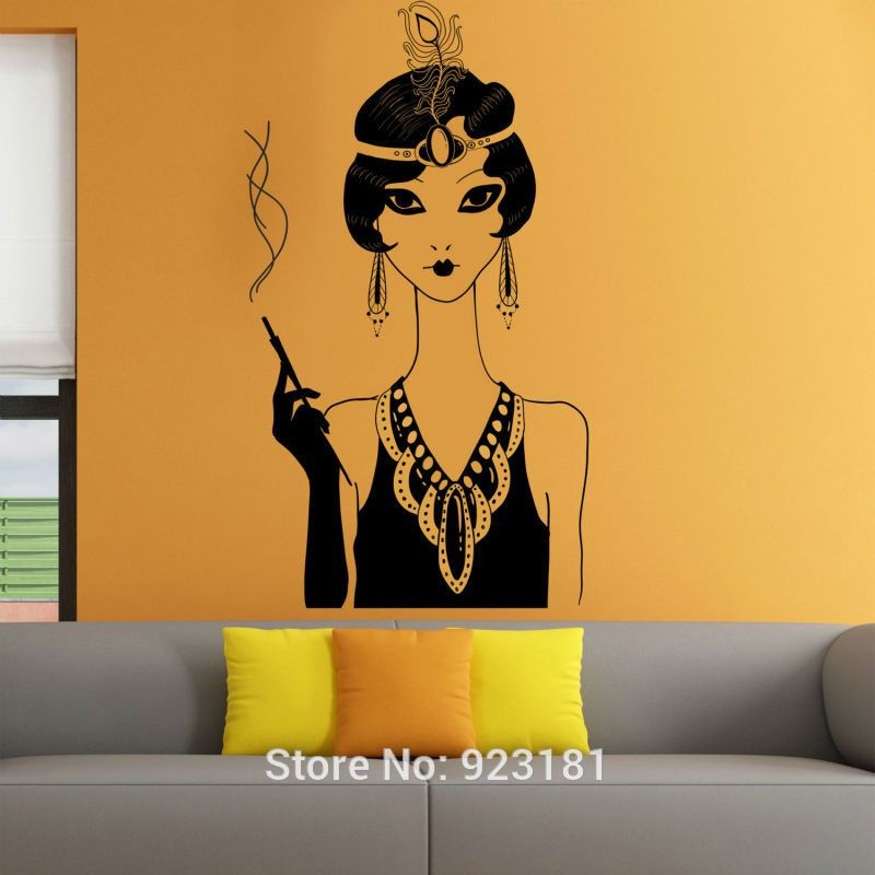 Elegant Retro woman Silhouette Wall Art Sticker Wall Decals Home DIY ...