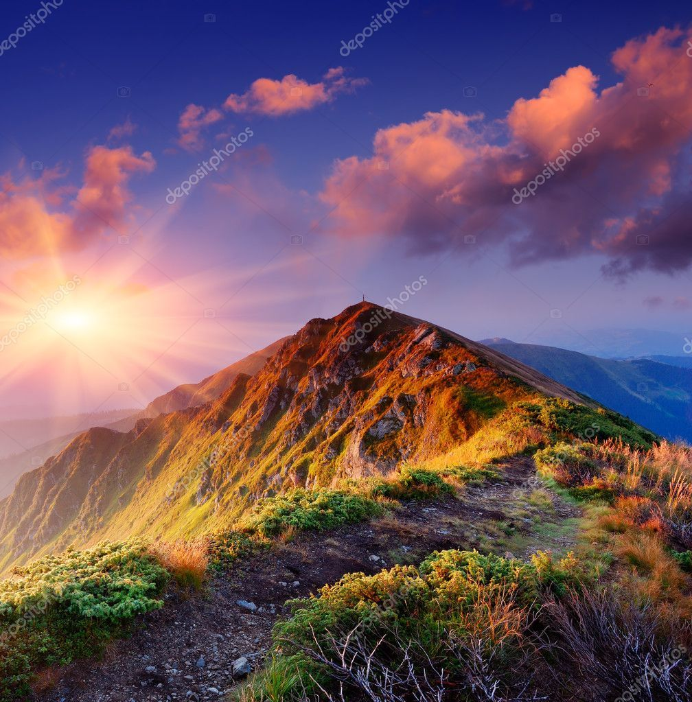 Beautiful Summer Sunrise In Mountains Path Along The Ridge Leading To Summit Mountain Images Beautiful Landscapes Mountain Landscape