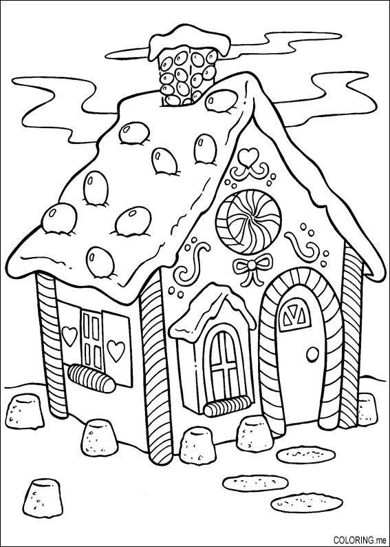 coloring page christmas cake house ausmalbilder. Black Bedroom Furniture Sets. Home Design Ideas