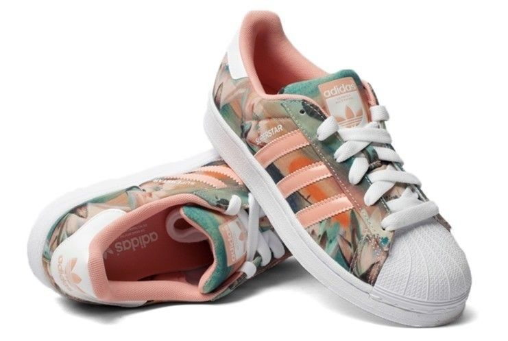 adidas originals superstar w b35832 dames shell bloem print ...