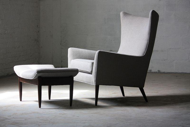 Magical Paul Mccobb Mid Century Modern Wing Chair Ottoman