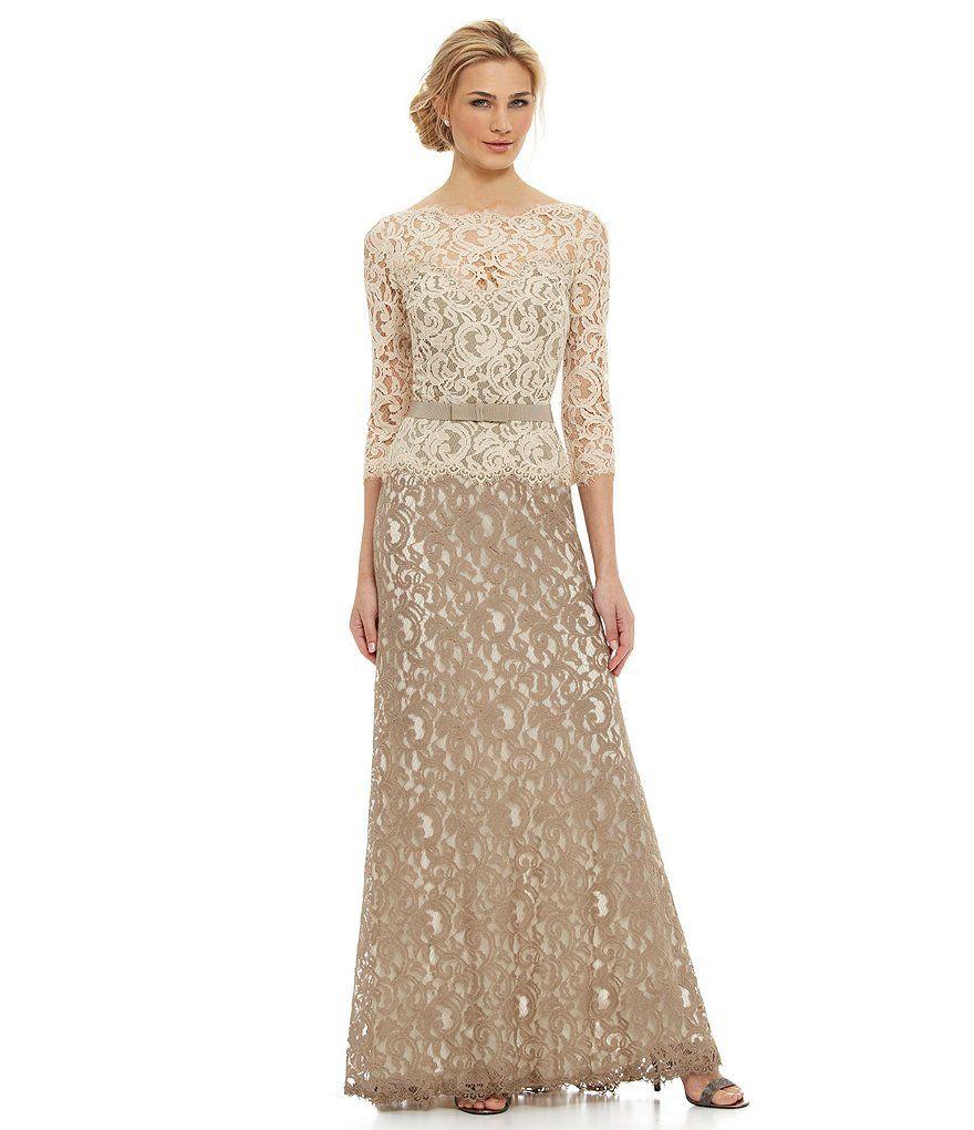Tadashi Shoji Petite 3/4 Sleeve Embellished Lace Gown   Dillard\'s ...