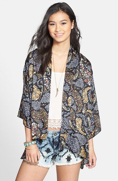 TRAC Paisley Print Kimono Cardigan (Juniors) available at ...