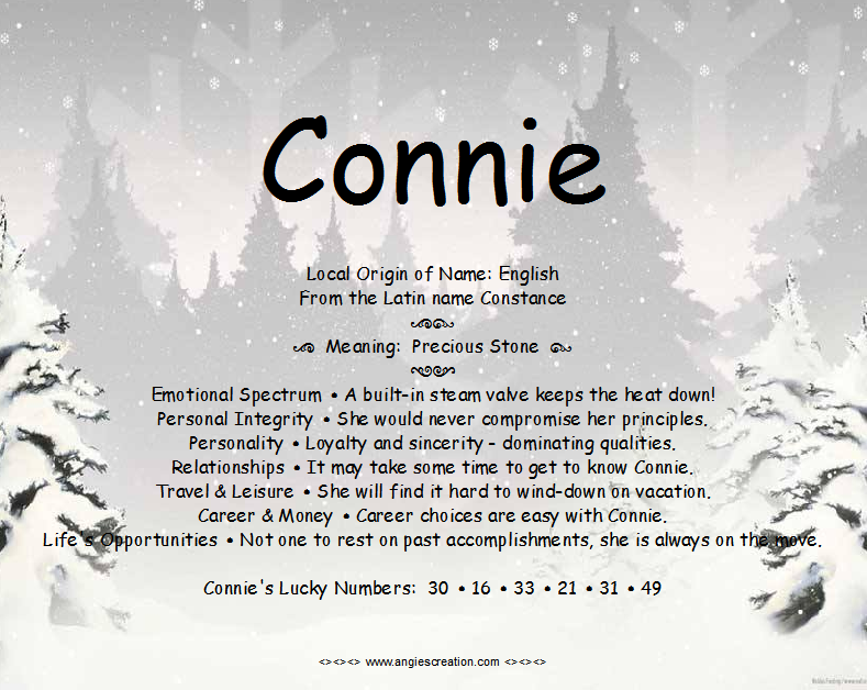 Connie - Name Meaning | Angies Creation (With images ...