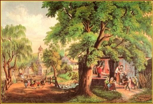 """1978 Vintage /""""THE VILLAGE BLACKSMITH/"""" LONGFELLOW CURRIER /& IVES COLOR Lithograph"""