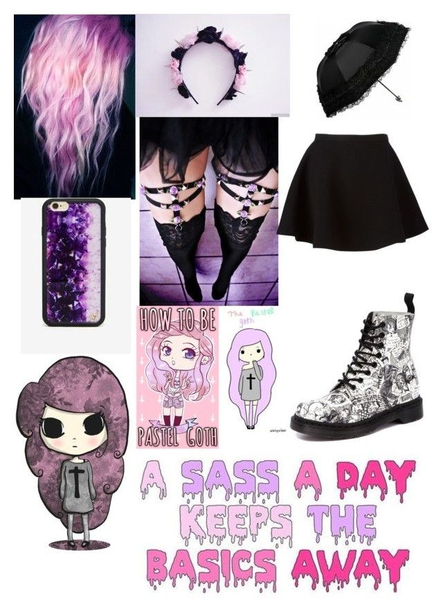 """pastel goth"" by xxkawaiiprincessxx ❤ liked on Polyvore featuring Wildflower, Dr. Martens and Neil Barrett"