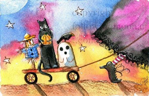 Halloween Walk Scarecrow Black Cat Ghost Witch Pumpkin ...