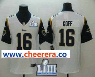 e294e3a11f5 Men s Los Angeles Rams  16 Jared Goff White 2019 Super Bowl LIII Patch Vapor  Untouchable Stitched NFL Nike Limited Jersey