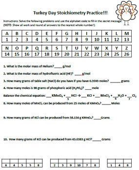 Thanksgiving Or Easter Stoichiometry Practice Worksheet