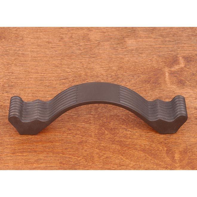 This oil rubbed bronze finish standard size cabinet/drawer pull handle with wavy contoured and lines design from RK International is perfect for use on cabinet doors and drawers capable of accepting a mounted pull.