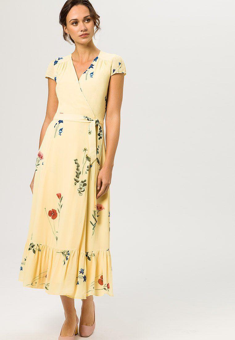 Ivy Oak Wrap Dress Cap Sleeve Volant Maxi Dress Lemon Sorbet Zalando Co Uk Dresses Cap Dress Wrap Dress [ jpg ]