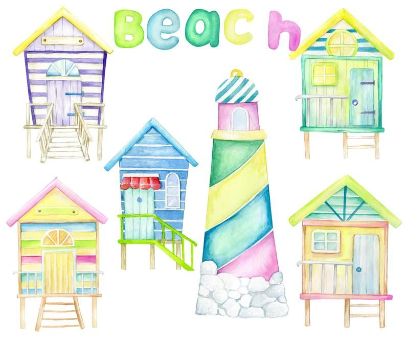 Animals On The Beach Beach Houses Sand Castles Watercolor Etsy In 2021 Sand Castle Happy Birthday Clip Art Tropical Animals
