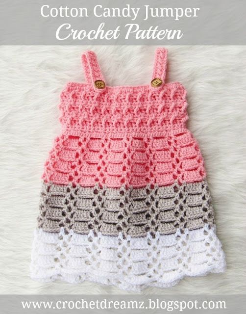 Cotton Candy Jumper, Crochet Baby Dress Pattern | Häkeln baby ...