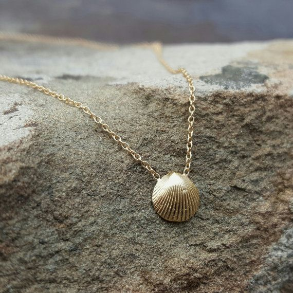 Gold Necklace Gold Seashell Necklace Rose Gold Necklace 14K Gold Sea