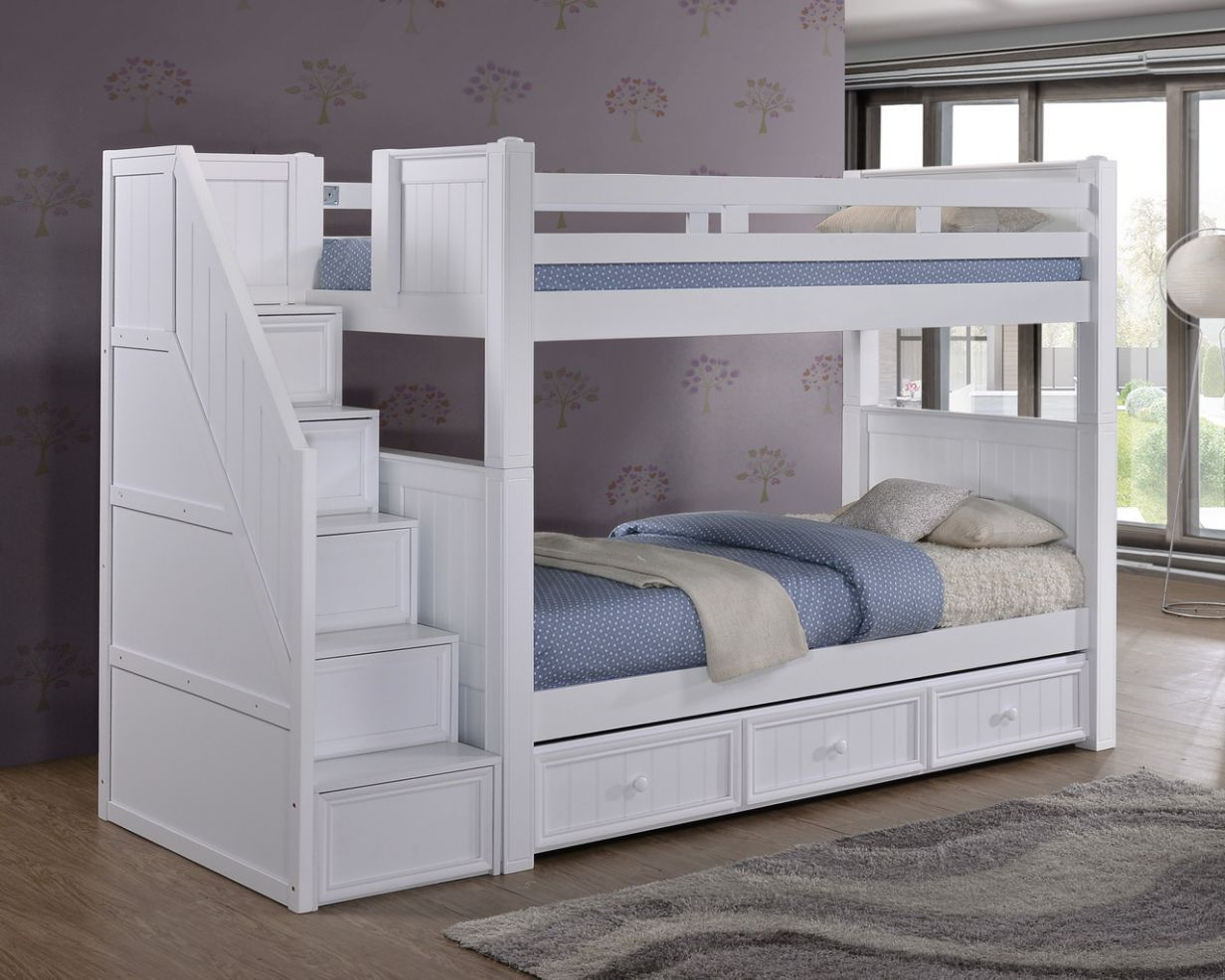 Beautiful White Bunk Beds With Stairs And Storage Check More At