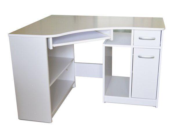 Rohový PC stolík s miestom pre PC na strane pravej vedľa ktorého sa nachádza aj jedna skrina s dvierkami a zásuvka nad ňou. Vybavený je výsuvnou doskou na k | NovýNábytok.sk, najväčší eshop s nábytkom v SR
