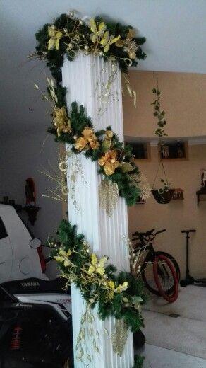Navidad decorar columnas decoraci n navide a mi casa navidad decoracion navidad y - Como decorar columnas ...