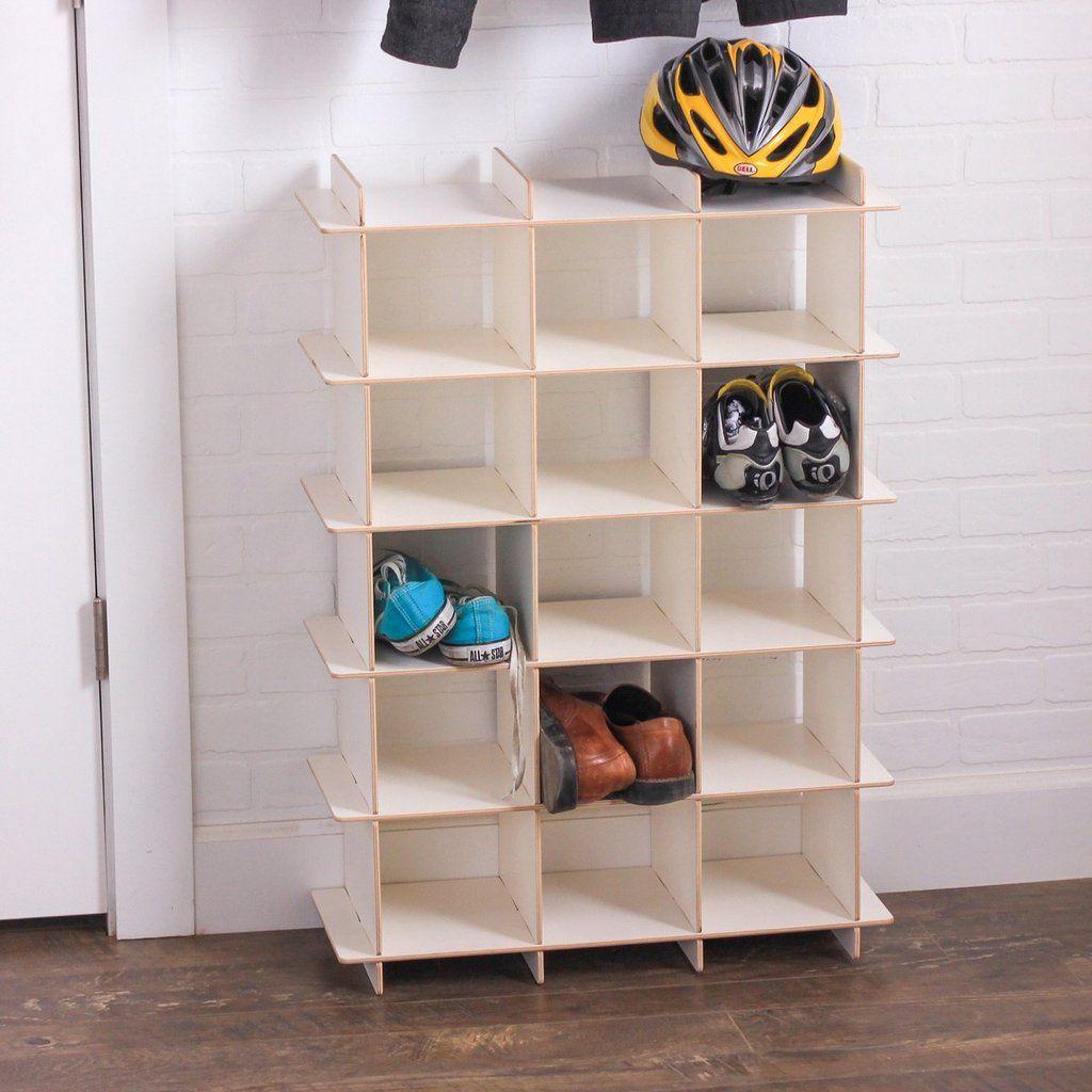 Modern Wood Shoe Storage Cubby Modern Wood