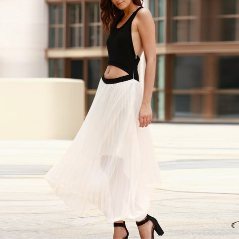 Sexy Women Sleeveless Cut Out Backless Chiffon Patchwork Long Maxi Dress