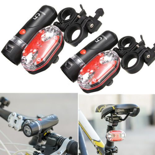 5 LED Lamp Bike Bicycle Front Head Light Rear Safety Flashlight Set Outdoor