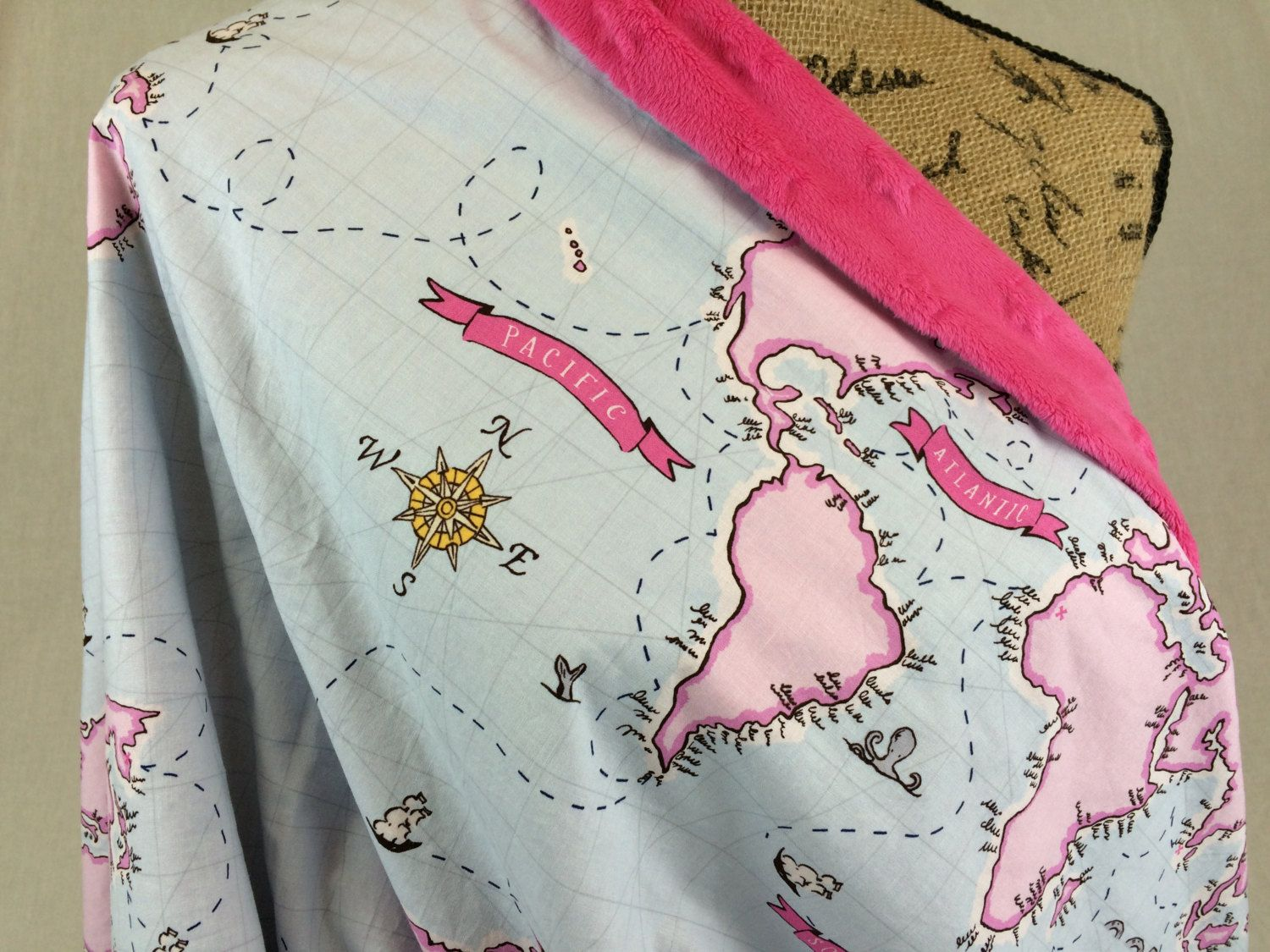 World map blanket throw blanket baby blanket lap blanket sky world map blanket throw blanket baby blanket lap blanket sky blue and pink world map with bright pink embossed star minky fleece blanket gumiabroncs Images
