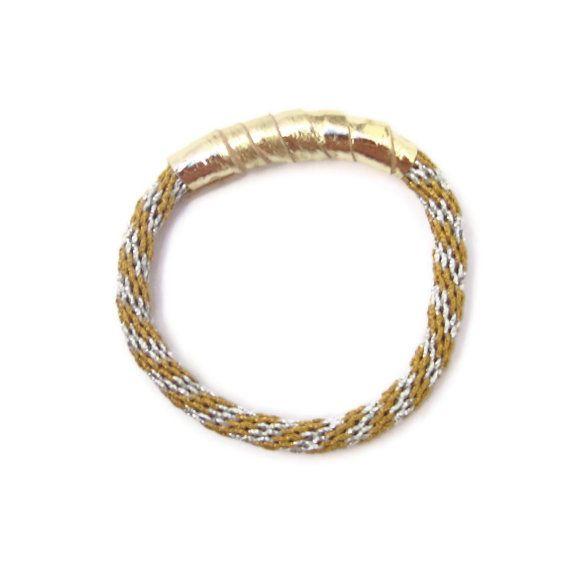silver & gold rope bracelet