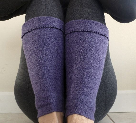 Purple Leg Warmers/Boot Toppers Recycled Felted Wool