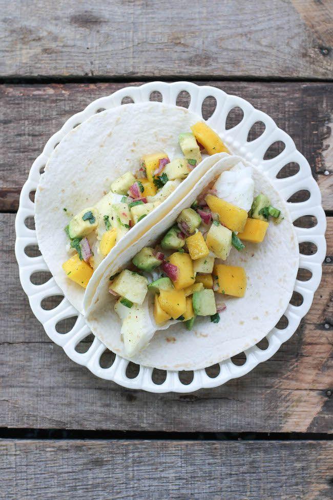 #ad Fish Tacos with Tropical Vanilla Bean Salsa - FoodBabbles.com