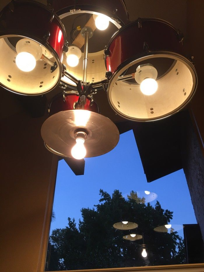 Turn an old drum set into a unique chandelier for your home
