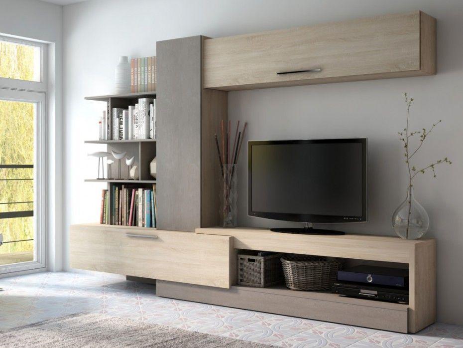 Mur tv spike avec rangements ch ne taupe prix promo for Meuble salon rangement