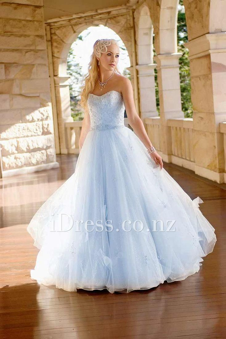 Strapless Sweetheart Long A Line Pale Sky Blue Wedding Dress